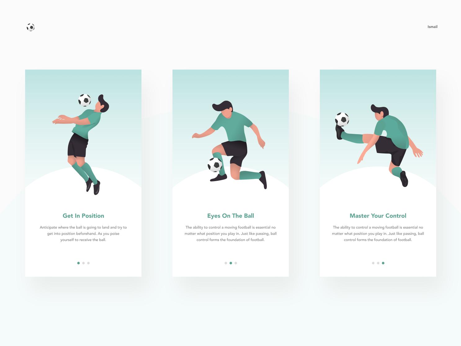 Mobile Football football ui application app minimal simple