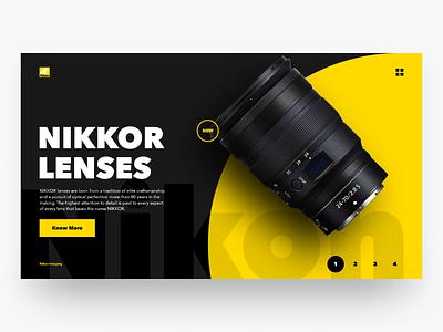 Nikkor Lenses dailui type typografy camera lens yellow bold font uidesign nikon