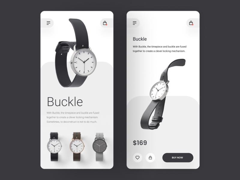 Buckle watches hiwow app design app ecommerce clean simple minimal