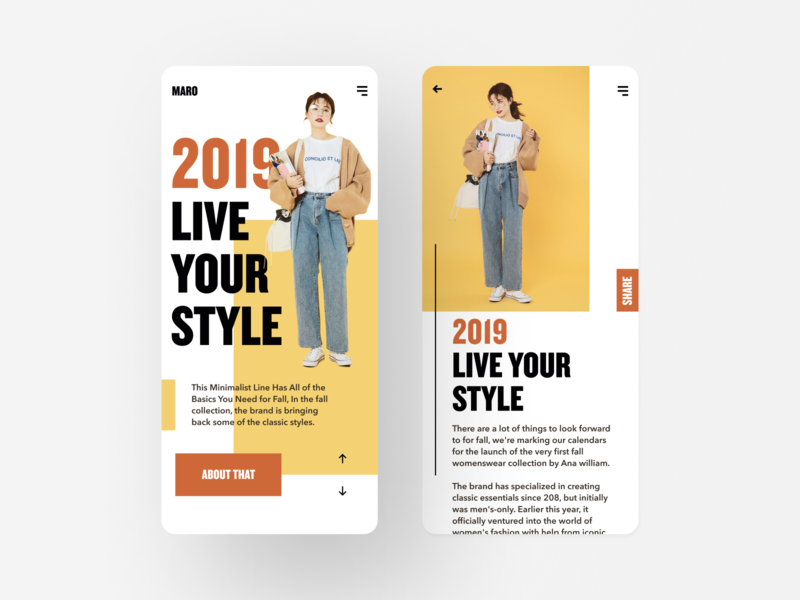 Maro style lady fashion ecommerce ui challenge webdesign minimal uidesign app hiwow clean simple