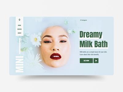 Milk Bath green women ecommerce bath milk website ui layout web uidesign