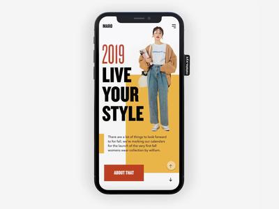 MARO fashion share article blog ecommerce animation app layout minimal simple