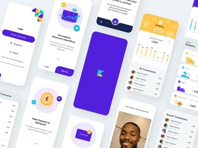 Case Study - Kard - Make payments securely and track expenses login onboarding fintech design ios blue ux app flat ui case study