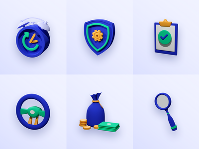 3D Icons for Yescar design app freebies icons car icon set iconography 3d icons 3d
