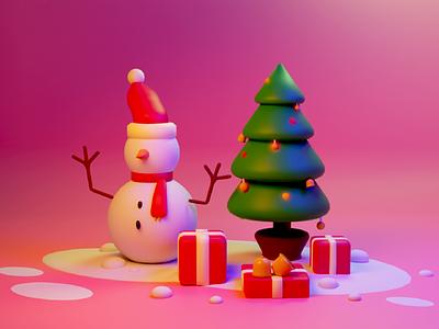 Illustration - Merry Christmas flyer color winter 3d illustration blender3d blender illustration christmas tree christmas