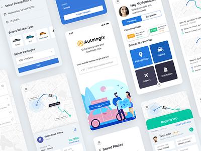 Autologix B2B Cab booking app app interface interface b2b automobile vehicle car uber cab booking flat ios app ux ui