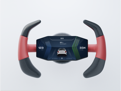 Futuristic Steering wheel display speedometer car dashboard hmi hud car steering wheel ui