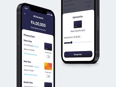 Credit Card app - Family account layout andriod app ios mobile app finance app finance fintech digital card card app app credit card