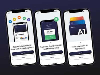 A1 Credit Card app design andriod ios design mobile app onboarding debit card credit card card ux ui