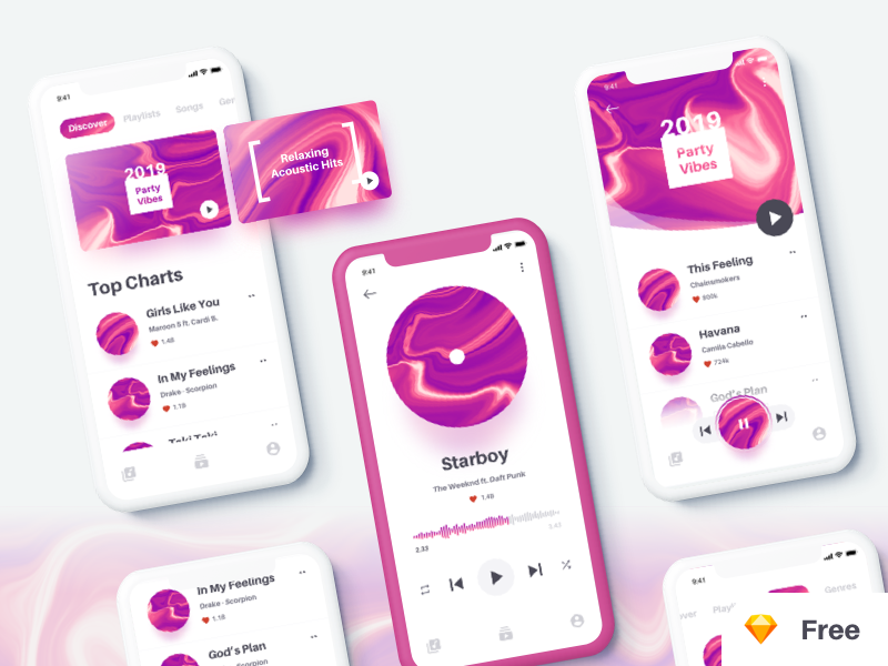 Music App UI Kit ios app colorscheme music player music music app freebie ui kit ux ui