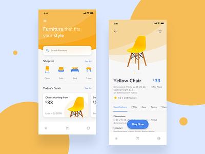Furniture E Commerce iOS App store furniture store ecommerce app yellow clean ecommence app furniture ios ui