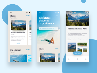 Travel App explore app app ios blue blue ui tourism app travel app travel ui