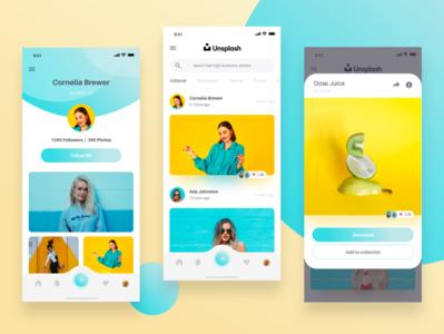 Unsplash UI Redesign redesign photos photo app blue yellow web ios mobile app unsplash ui