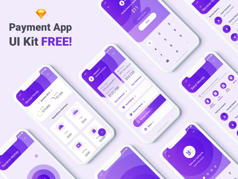 Free UI Kit - Payment App flat payment app payments app animation color app ios giveaways freebie free app free ui kit ui kit ui
