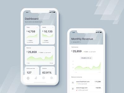 Analytics Dashboard Mobile cards graph revenue mobile app mobile layout color ios app dashboard analytics clean flat ui