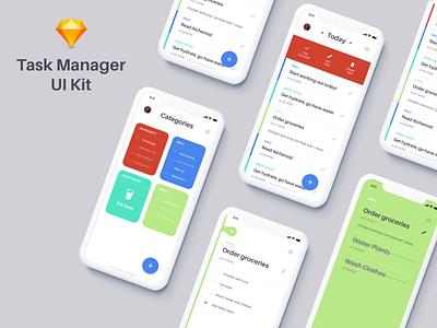 Todo App UI Kit free app todolist todo list free ui kit freebie ui kit cards task manager todo app todo app ios clean flat ui