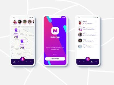 Meetup - Discover fun things to do around you. clean bright colours bottom navigation ios app flat ui
