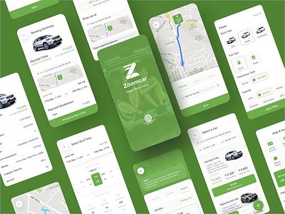 Zoomcar - A UI/UX Case Study cars car app car rental car case study design flat ui flat  design clean andriod green app design app ux ui