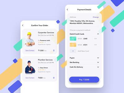 Utilities App - Order Confirmation & Payment app design ecommerce app order confirmation payment flat white layout cards design color app clean ux ui