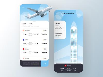 Flight booking - Seat Layout flight booking app flight app ios app blue seat layout tickets travel flight booking flights clean flat app ui