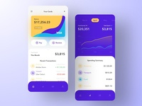 Fintech App - Cards and Analytics finance app graph account wallet payment app analytics dashboard finance fintech payment ios clean flat app ui