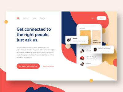 Landing page for Meetup App