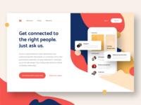 Landing page for Meetup App hero banner web design website lander landing page social color clean ios app flat ui design ui