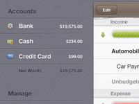 Money iPad accounts. Budgets view.