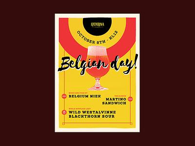 Katarina Belgian Day Poster silkscreen ölkafé katarina halftone beer poster