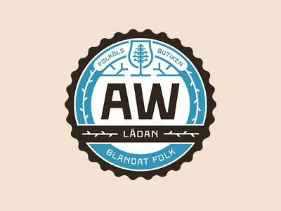 AW Lådan badge folköl beer badge