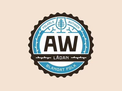 AW Lådan badge