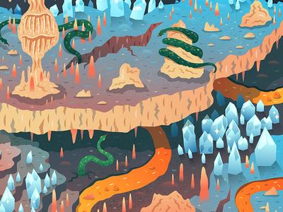 Ice Cave, Lava and Snakes rock ice snake illustration vector underground lava cavern stalagmites stalactites cave