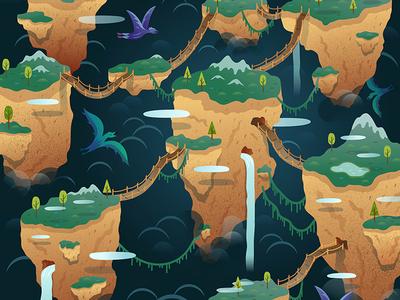 Whispering Hills Digital Illustration alex mathers landscape dragons illustration digital mountains hills floating floating islands vector