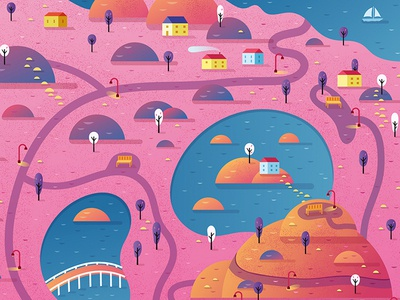 Breast Cancer Awareness Town for Dots 2 Game alex mathers illustration digital lake houses landscape village town vector dots breast cancer breast cancer awareness