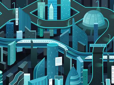 Tron Style City Illustration illustration digital town night train map vector buildings urban city tron