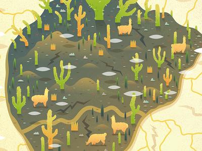 Cactus Island digital salt flat desert landscape illustration vector island cactus cacti llama