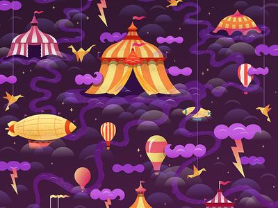 Circus Thunder blimp balloons digital illustration clouds mystical tents circus vector