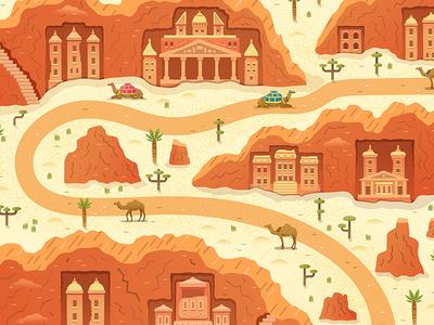 Rose City Jordan and Camels Vector Scene palm tree ancient towers monastery rock city ancient city desert jordan petra camel vector