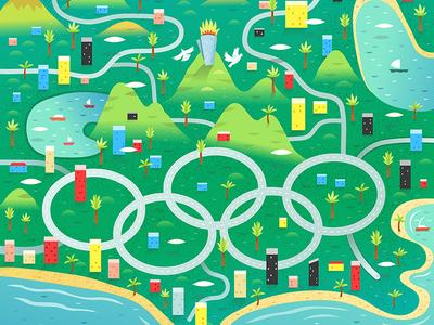 Rio 2016 Olympics Map illustration digital vector olympics rio de janeiro rio 2016