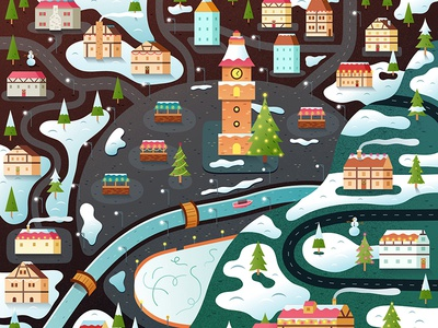 Christmas Town in Vector illlustration art digital winter christmas happy holidays village town map vector