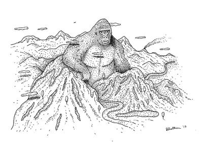 Kong in Papua mountains landscape digital art drawing ink illustration gorilla kong king kong