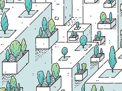 Untitled 2017 architecture design plants trees illustrator illustration isometric linear lineart vector cubicle