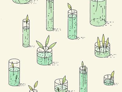 Plant Beakers sketch wallpaper design illustrator illustration drawing lineart vector beaker science leaf leaves