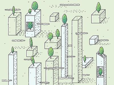 Oblique City 2 print design illustrator buildings urban city trees clouds oblique illustration vector