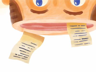 Word Dump watercolour sketch applepencil ipad head character writing journal illustration digital gouache