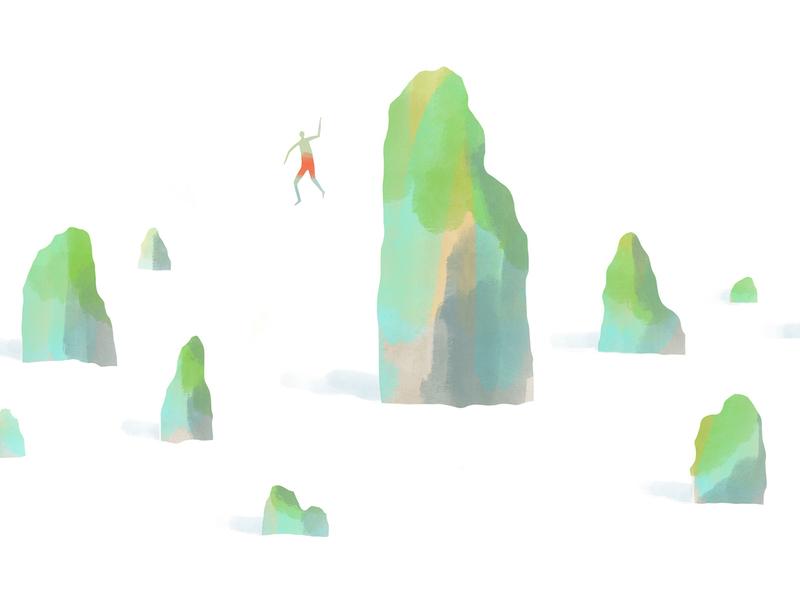 Cliff Jumper - Gouache environment design rock vietnam illustration cliff