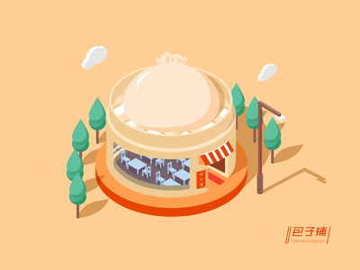 Stuffed bun house 2.5d illustration