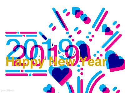 new year 3d art overprinting app animation ui ux overprint 2018 trends celebration new year 2019 2018 vector type logo lettering illustration typography design branding