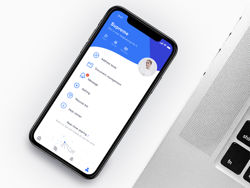 Personal center kit chat supreme blue interface personal center illustration concise clean interesting app icon mobile app design ui