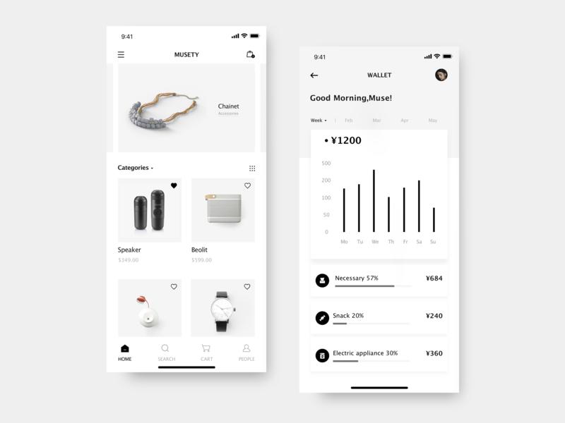 MUSETY App chart high end statistic shopping wallet bill data e-commerce elegant black  white branding clean app mobile app design ui